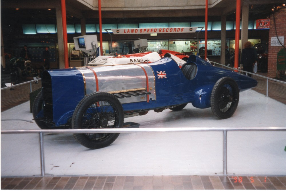 Sunbeam 350hp Bluebird - This car was originally driven by Kennelm Lee Guiness who set the World Land Speed Record at 133.75 mph in 1922. Malcolm Campbell then had it rebodied, renamed it Bluebird and raised the record twice, ultimately achieving 150mph.