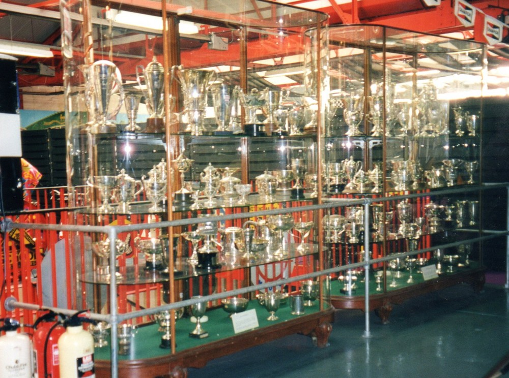 These display cases contain some of the trophies won by the marques of the Rootes Group in motor sport.