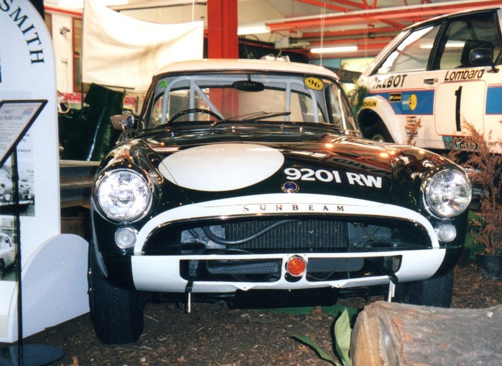 Sunbeam Alpine raced by Harper and Procter at Le Mans 1963 - to the left you can see part of a display dedicated to works rally driver Rosemary Smith.